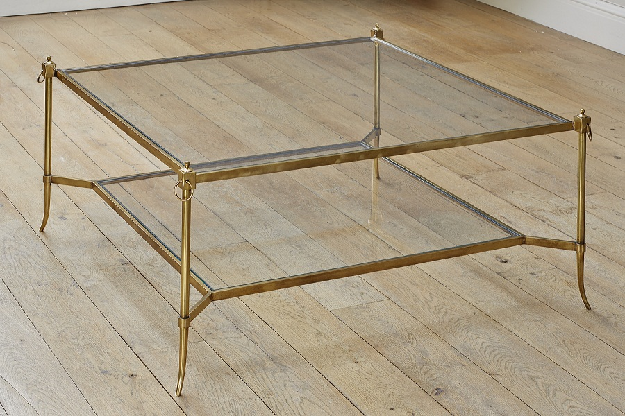 Image of: Square Glass and Brass Coffee Table