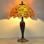 Stained Glass Table Lamp with 4column Base