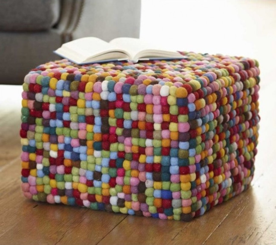 Image of: Stitched Poufs and Ottomans