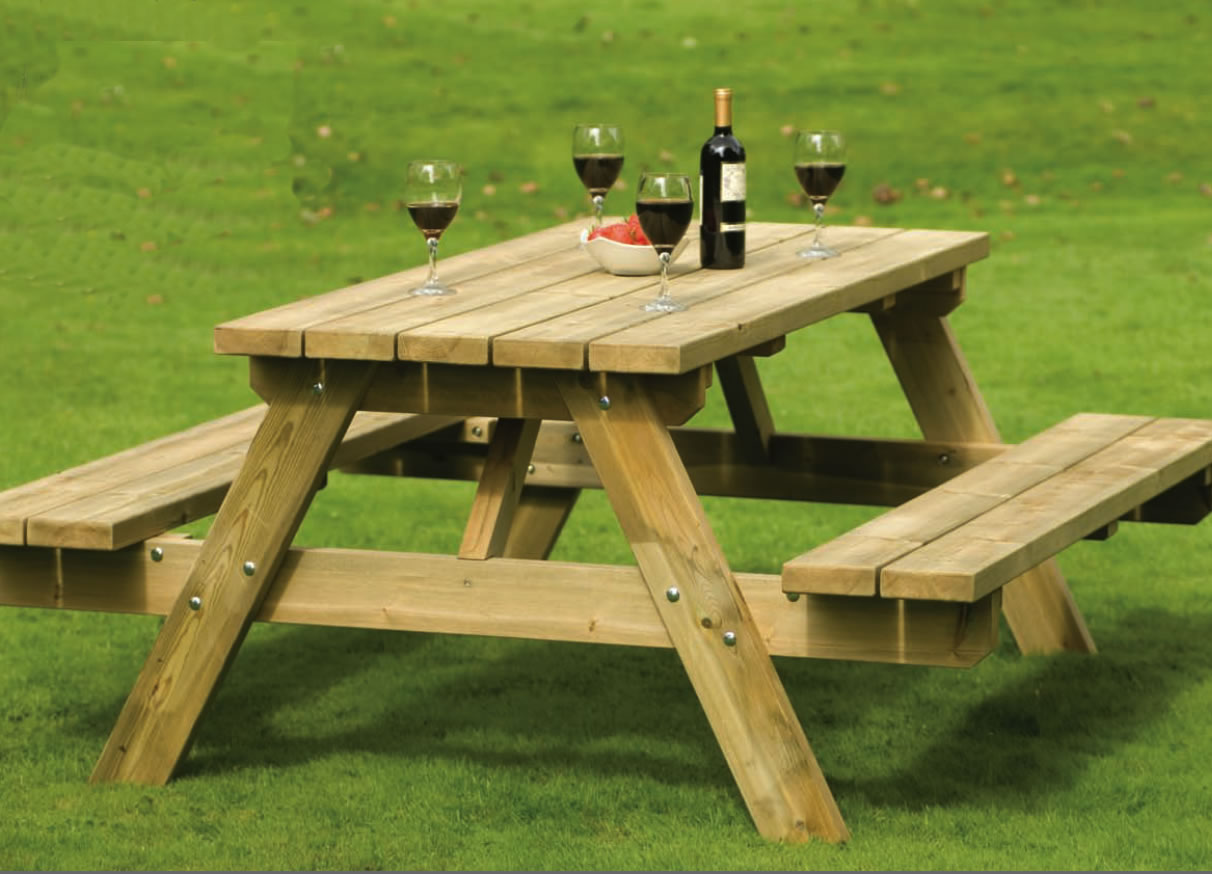 Style wooden picnic table