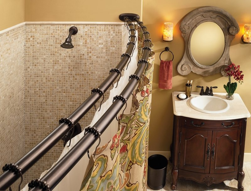 Picture of: stylish adjustable shower curtain rod