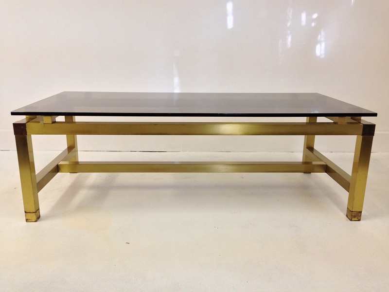 Image of: Stylish Glass and Brass Coffee Table