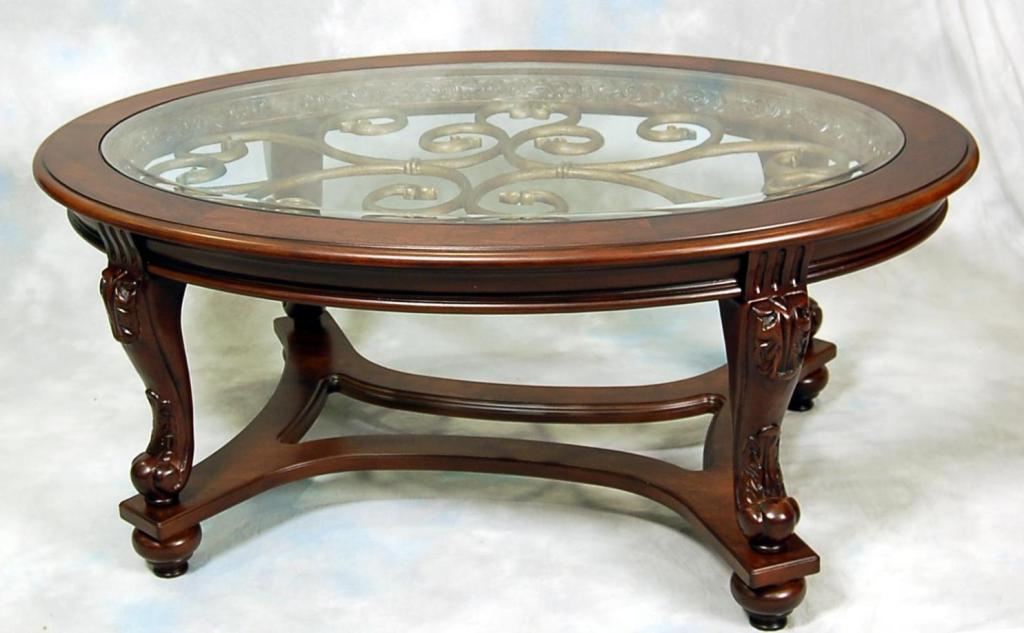 Image of: Stylish Oval Glass Top Coffee Table