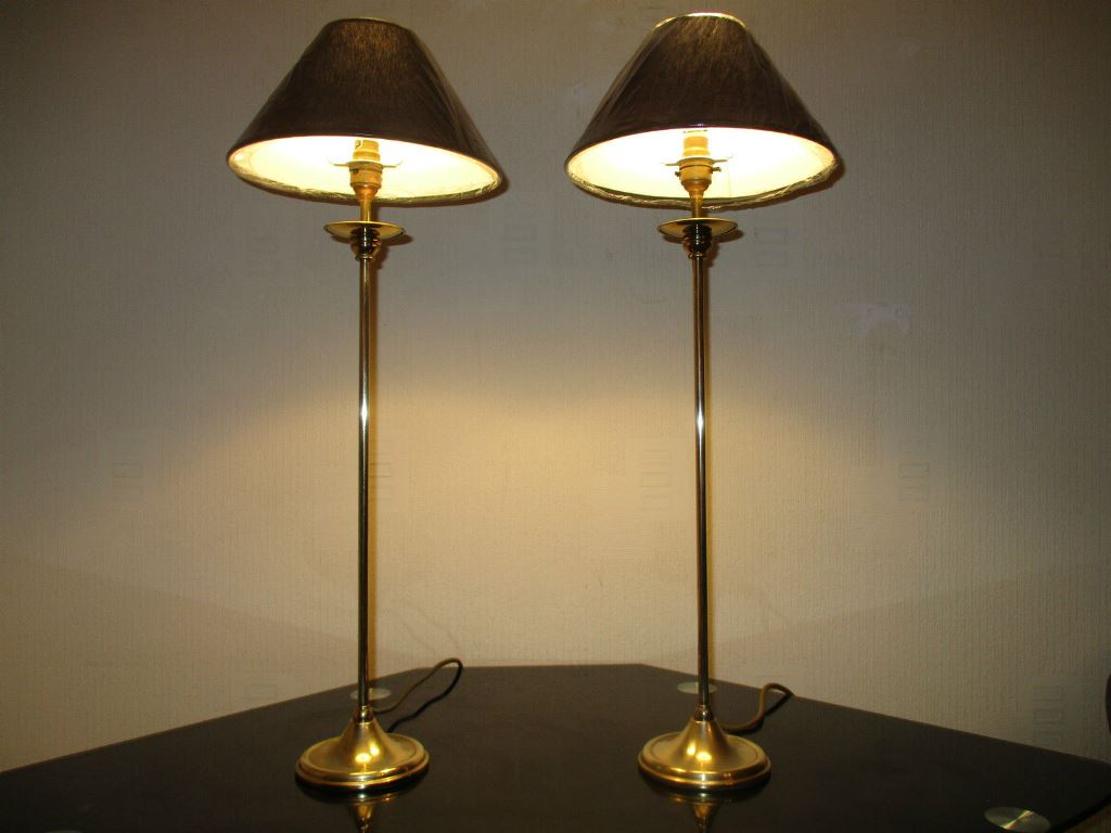 Picture of: tall table lamp brass