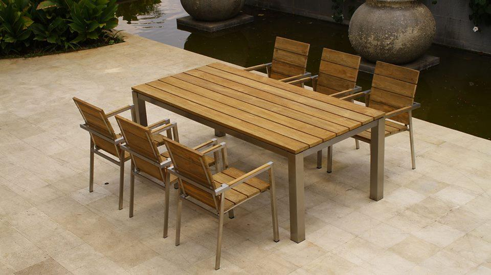 Picture of: teak wood table dining outdoor