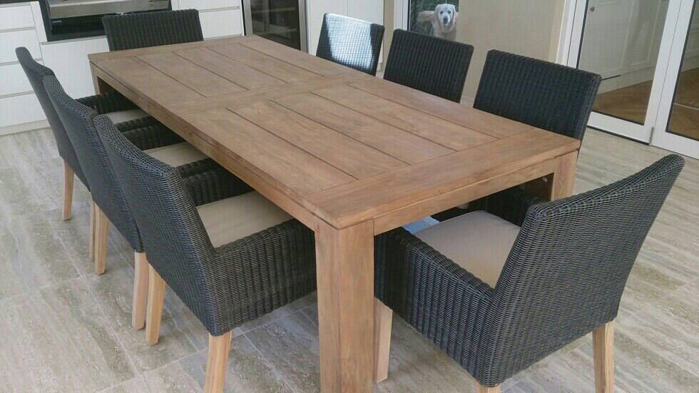 Picture of: teak wood table long