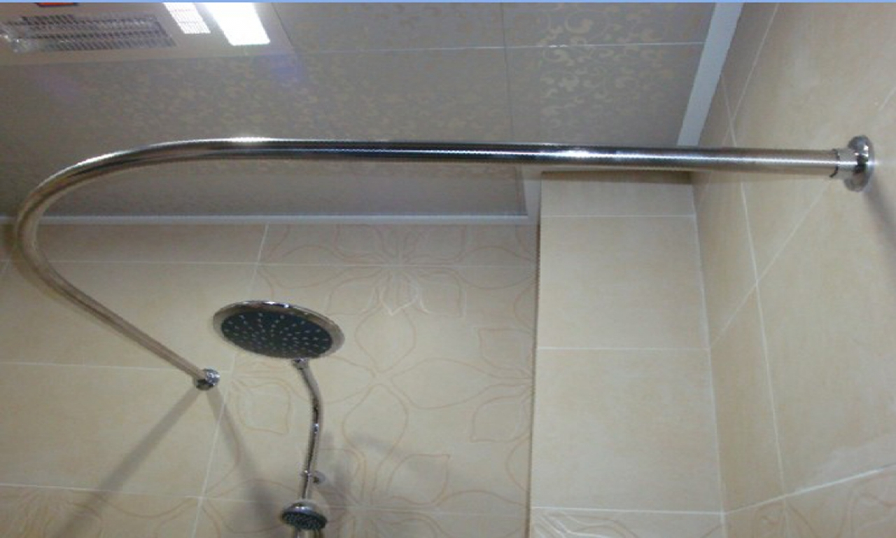 Picture of: trendy adjustable shower curtain rod