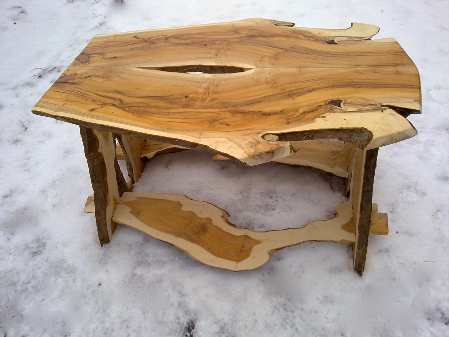 Picture of: Unique Natural Wood Coffee Table