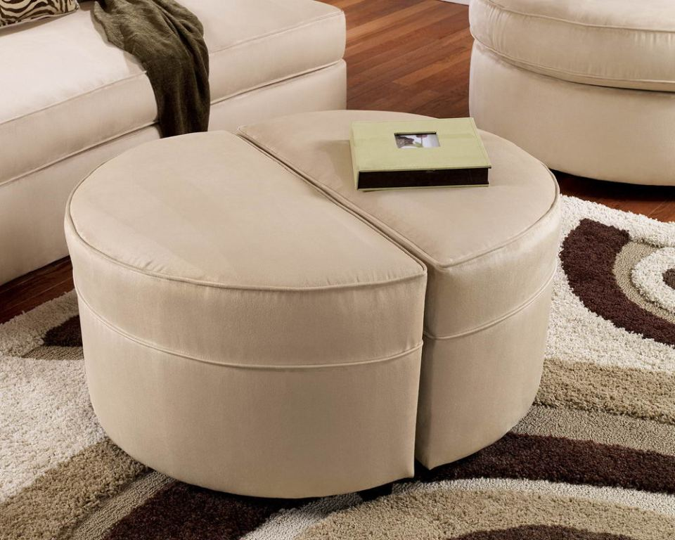 Upholstered Round Coffee Table Ottoman