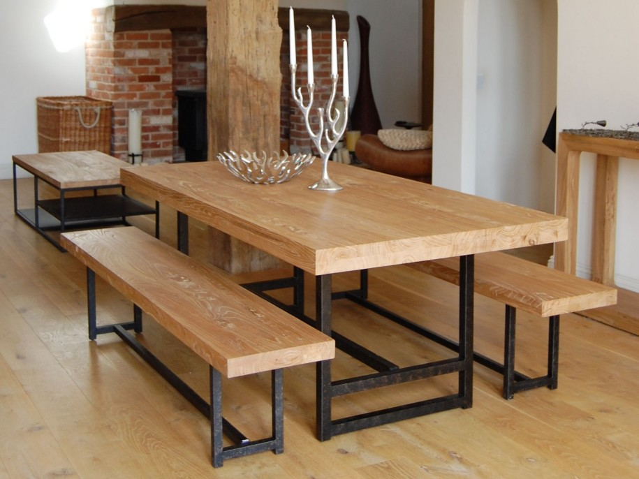 Image of: using wood and metal dining table