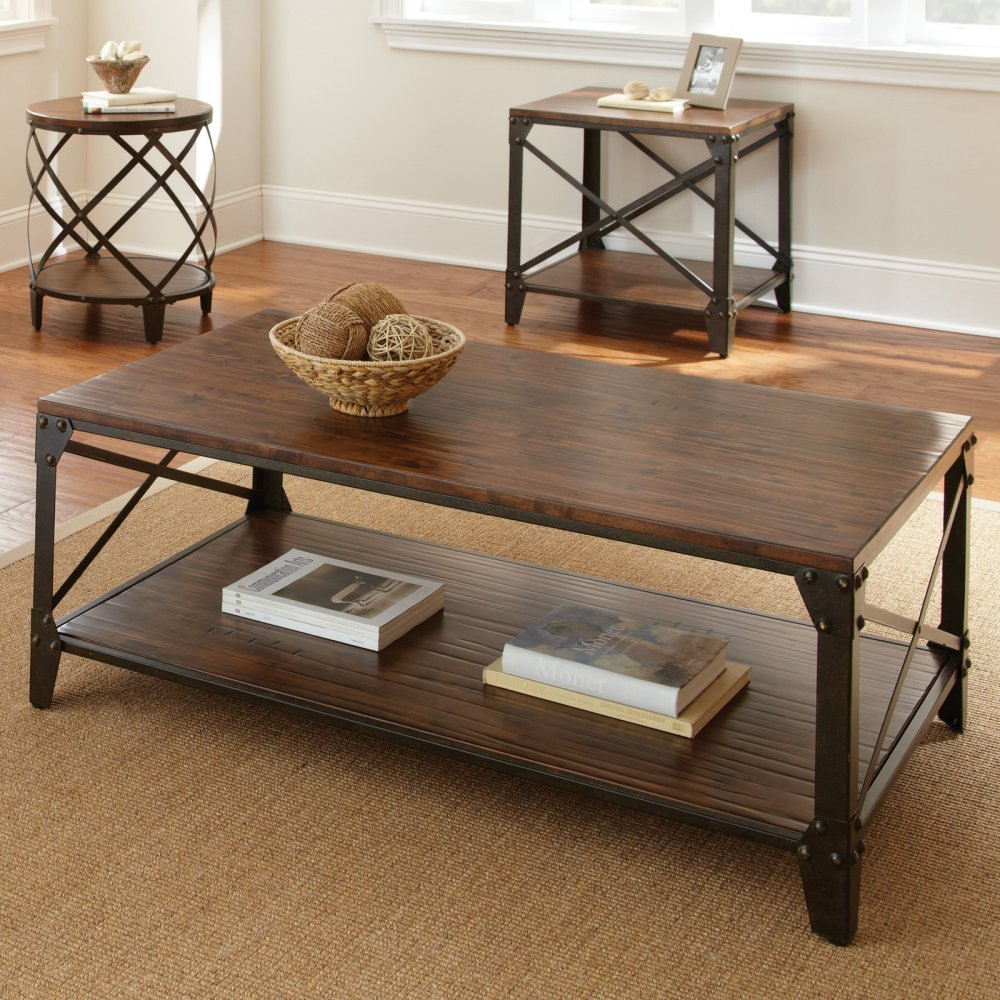Vintage Coffee Table With Metal Legs
