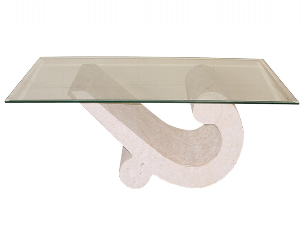 Picture of: Volos Curved Stone & Tempered Glass Coffee Table