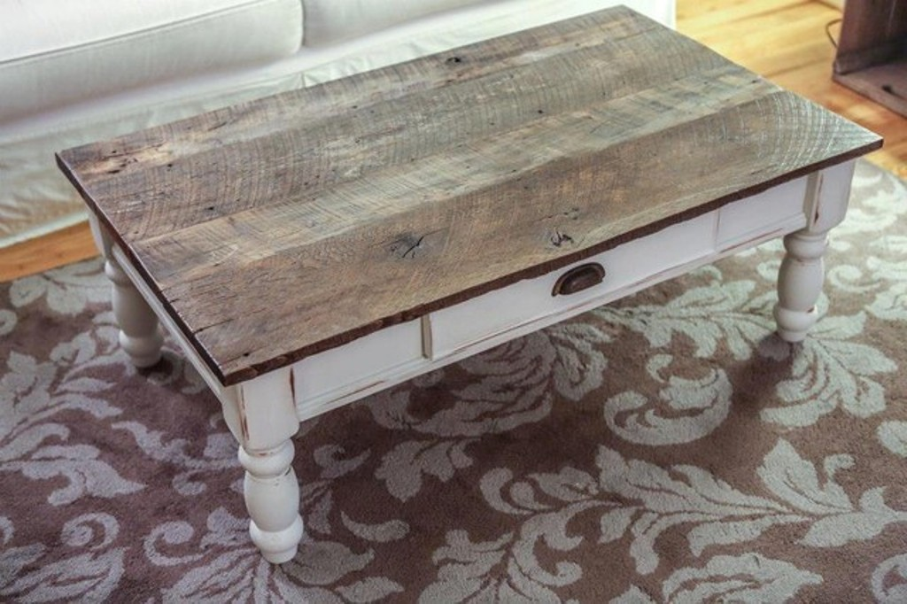 White Distressed Wood Coffee Table