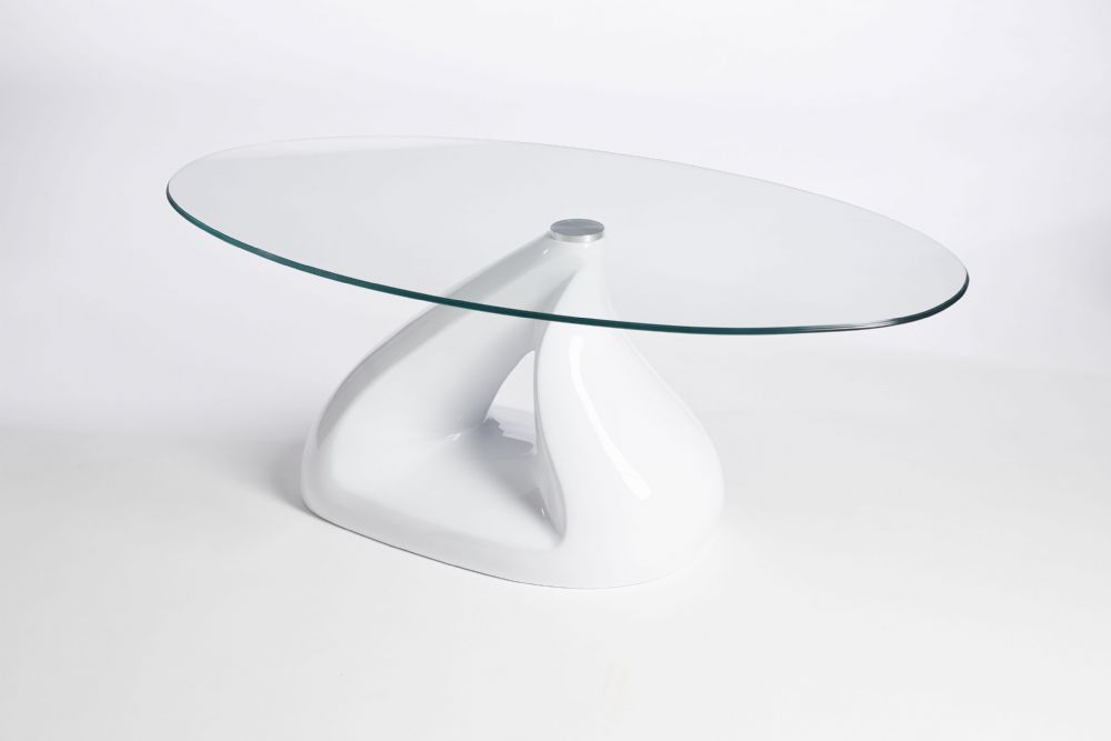 White Glass Oval Coffee Table