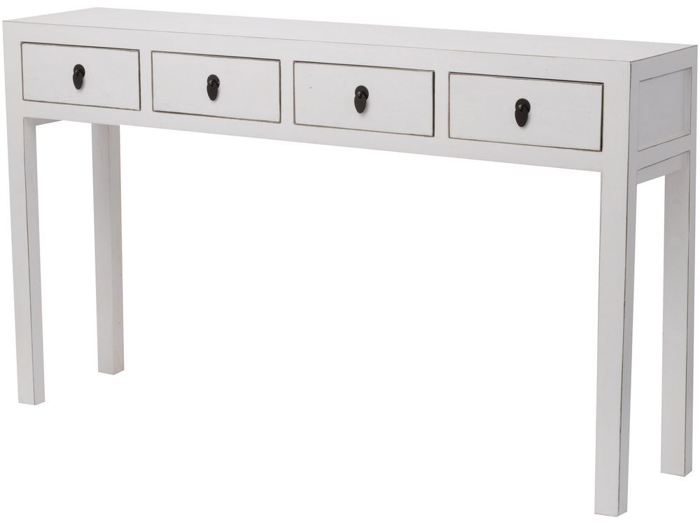Image of: White Lacquer Table Console