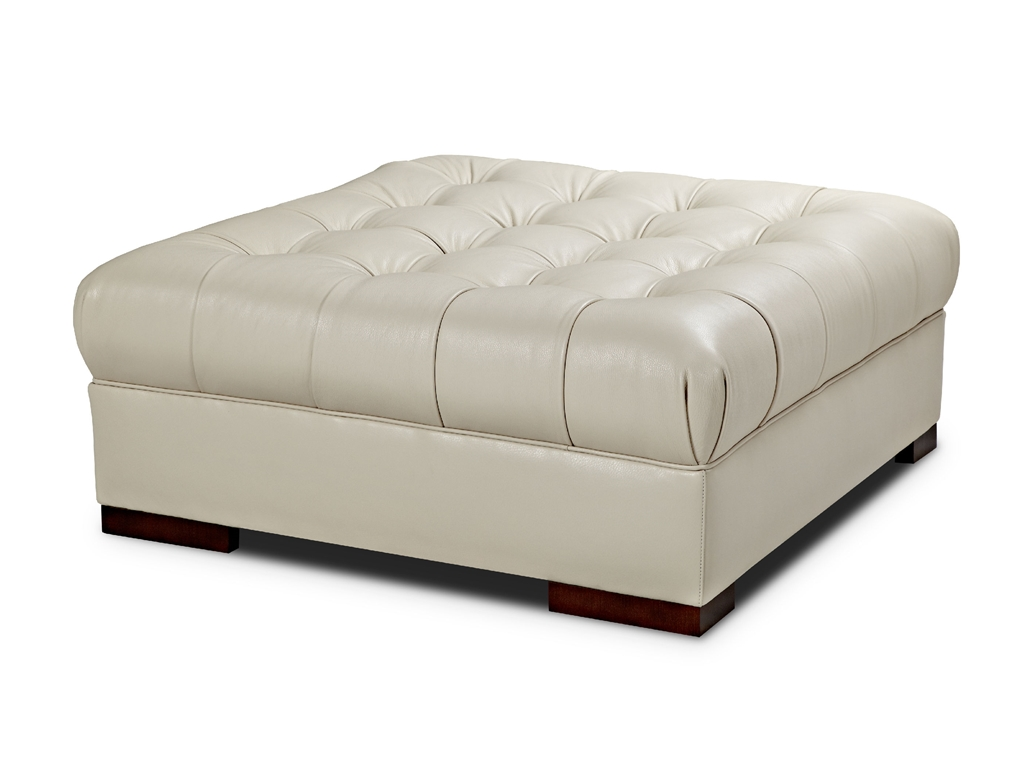 Image of: White Large Leather Ottoman