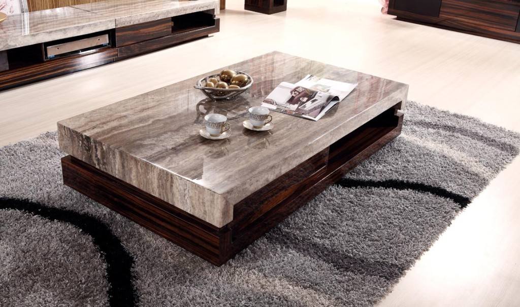 Image of: White Marble Coffee Table Modern