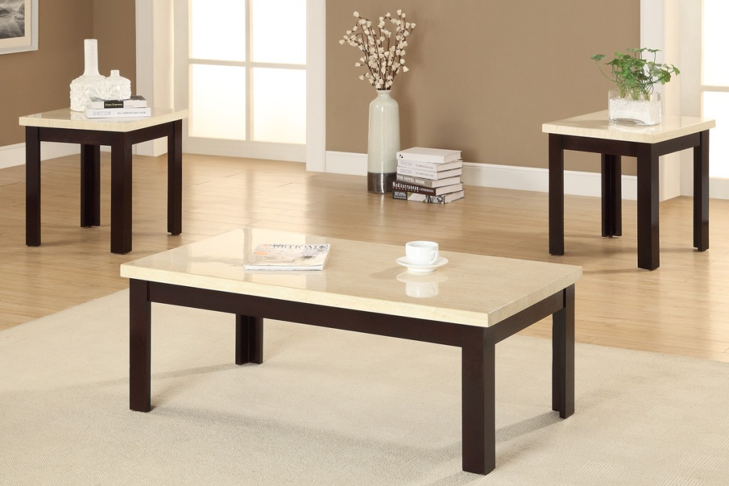 Image of: White Marble Coffee Table Set