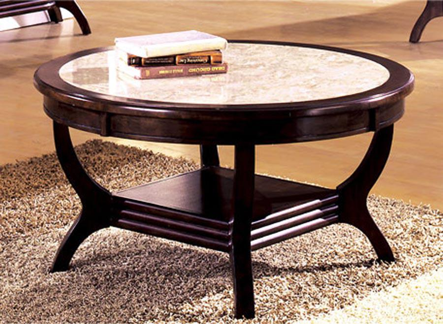 Image of: White Marble Coffee Table with Wood Frame