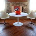 White Mid Century Round Dining Table