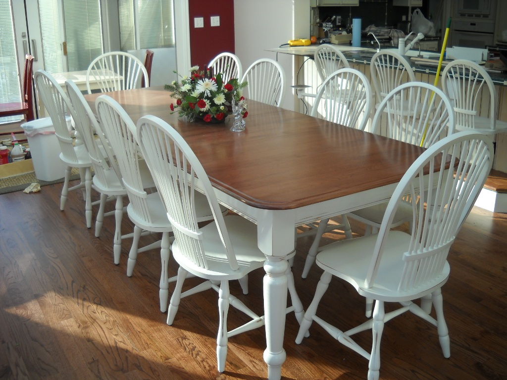 White Refinish Dining Room Table