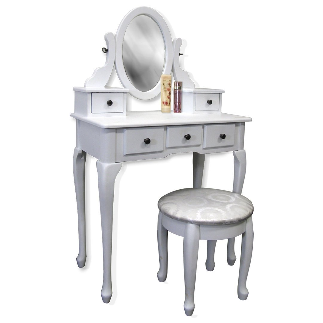 Image of: White makeup vanity table