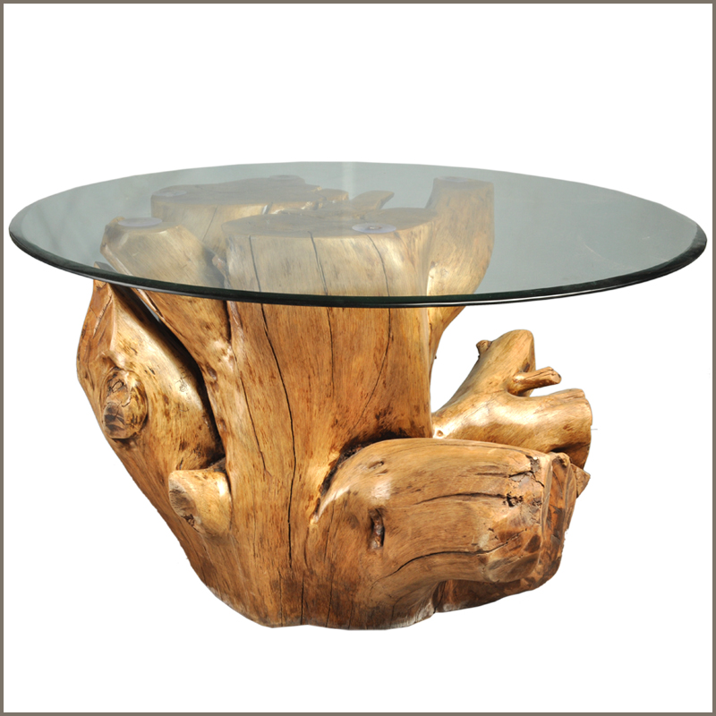 Picture of: Wood Stump Coffee Table with Glass Top