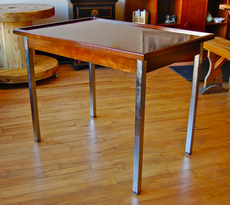 Picture of: Wood Table with Metal Legs