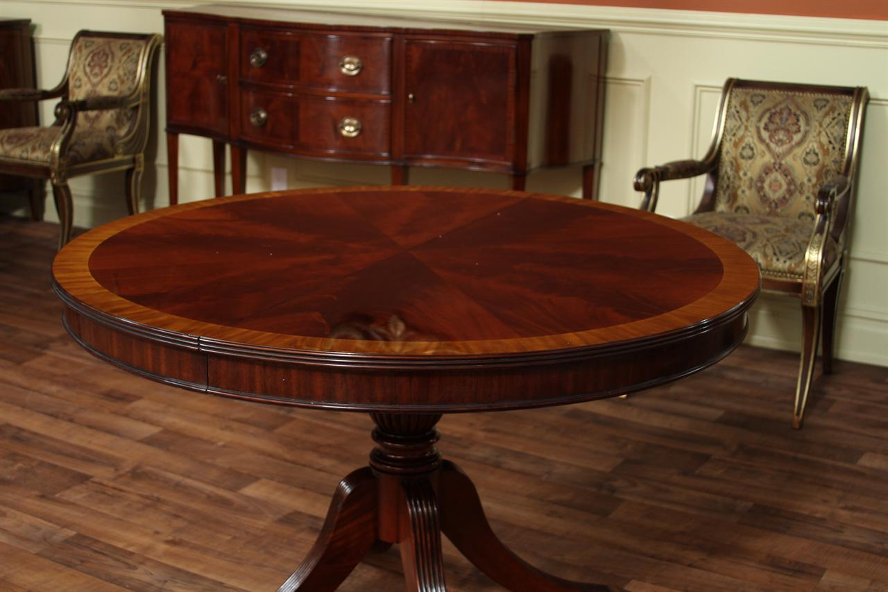 Picture of: Wooden Round Dining Table with Leaf