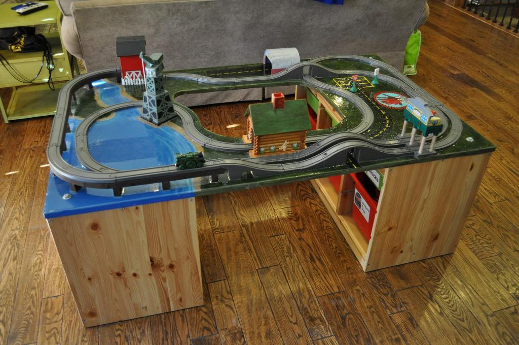 Image of: Wooden Train Table With Storage