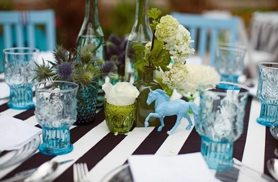 Picture of: black and white striped tablecloth rental