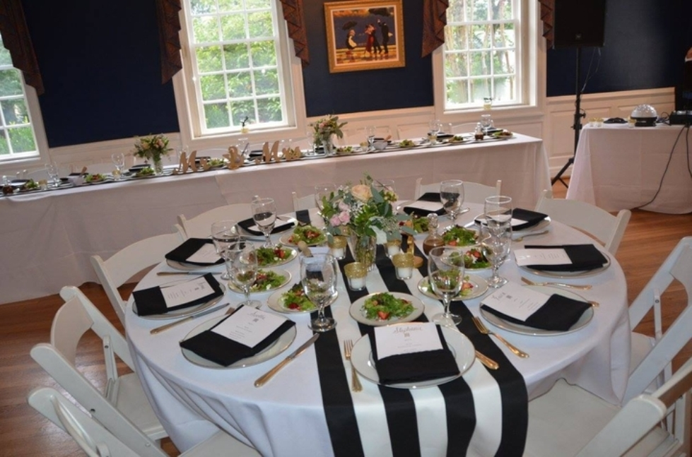 Picture of: black and white striped tablecloth roll