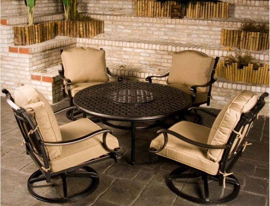 Image of: durango round mosaic stone garden fire pit table