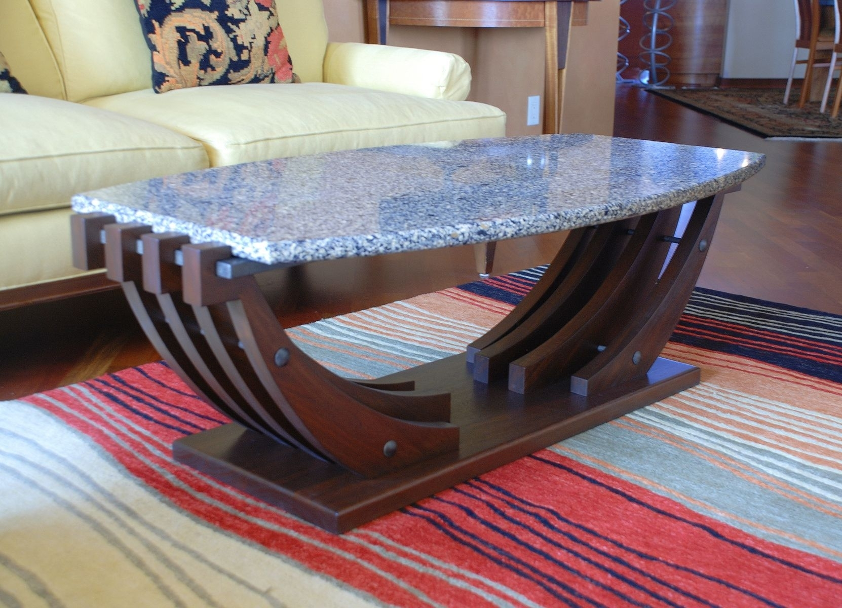 Image of: Marble Top Nautical Coffee Table With Boat Shaped Base Design