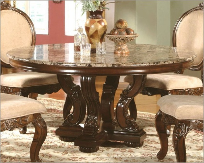 Image of: round dining room table with marble top