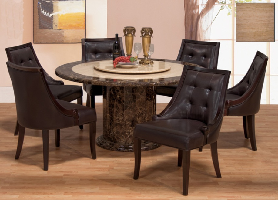 Image of: round dining table with marble top