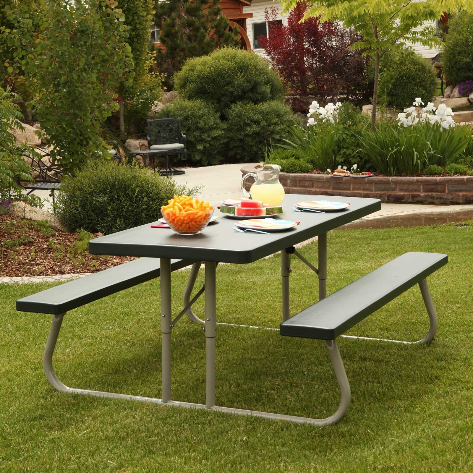 Picture of: Vintage Look Lifetime Outdoor Folding Picnic Table With Rectangle