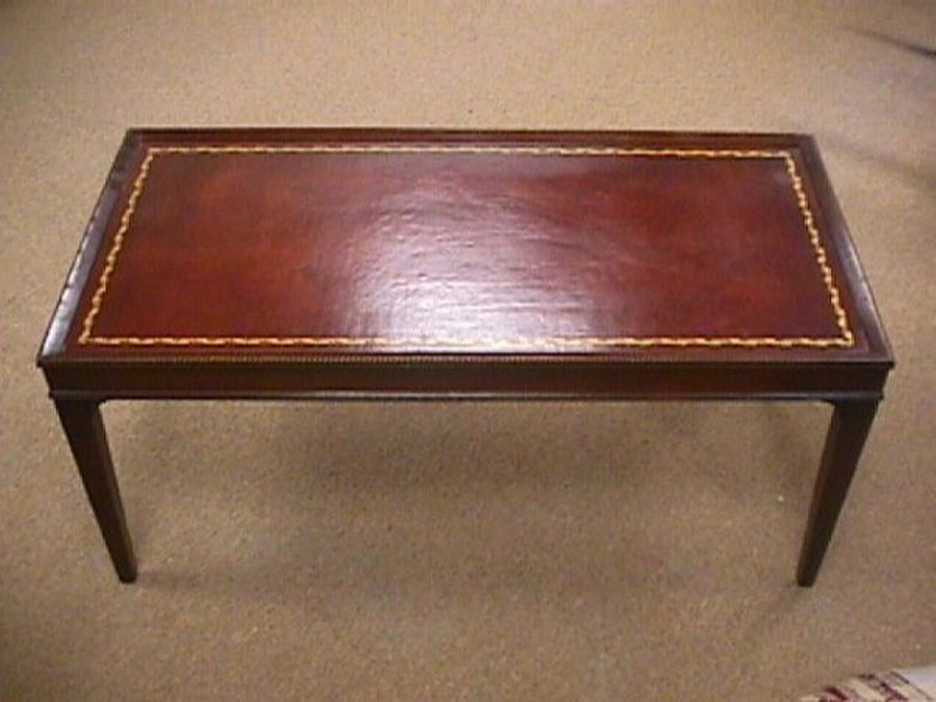 Picture of: Antique Coffee Table With Leather Top
