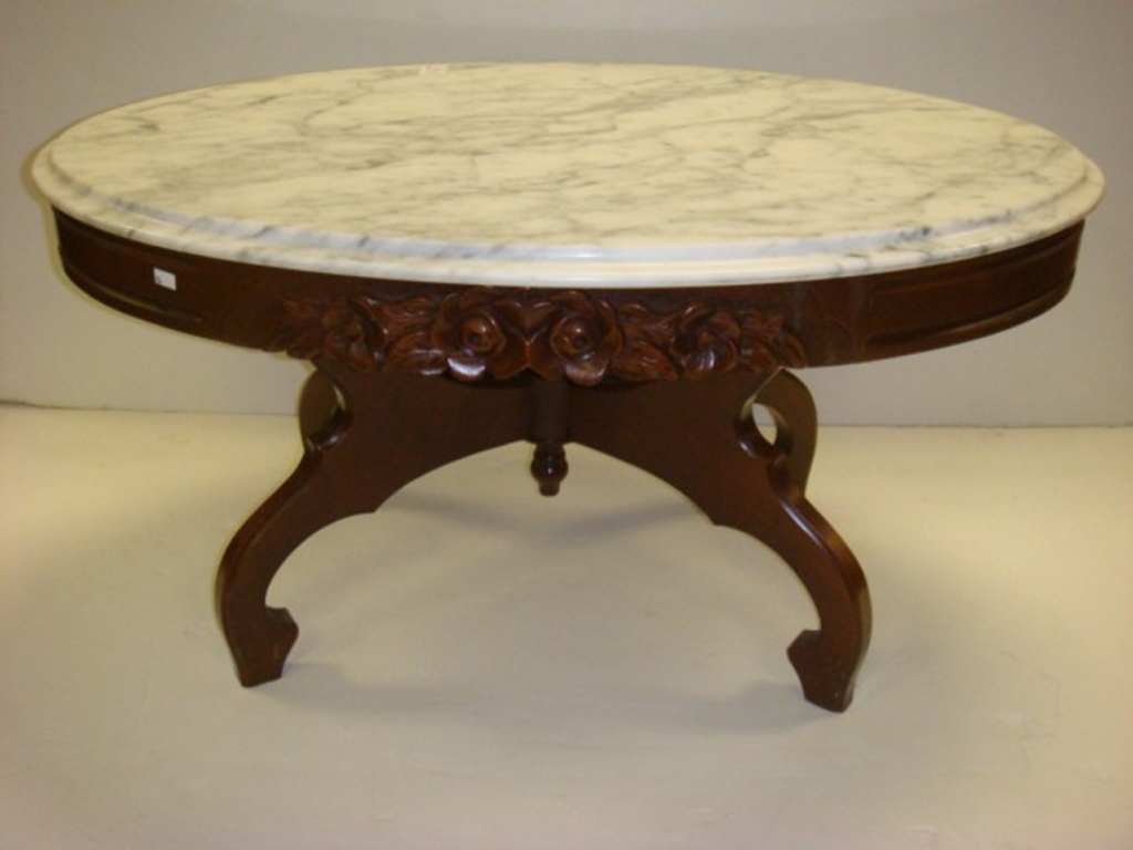 Picture of: Antique Coffee Table With Marble Top