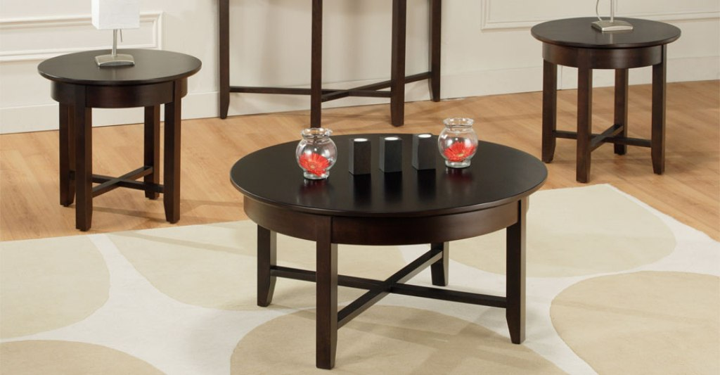 Image of: Black Glass Round Coffee Table Sets