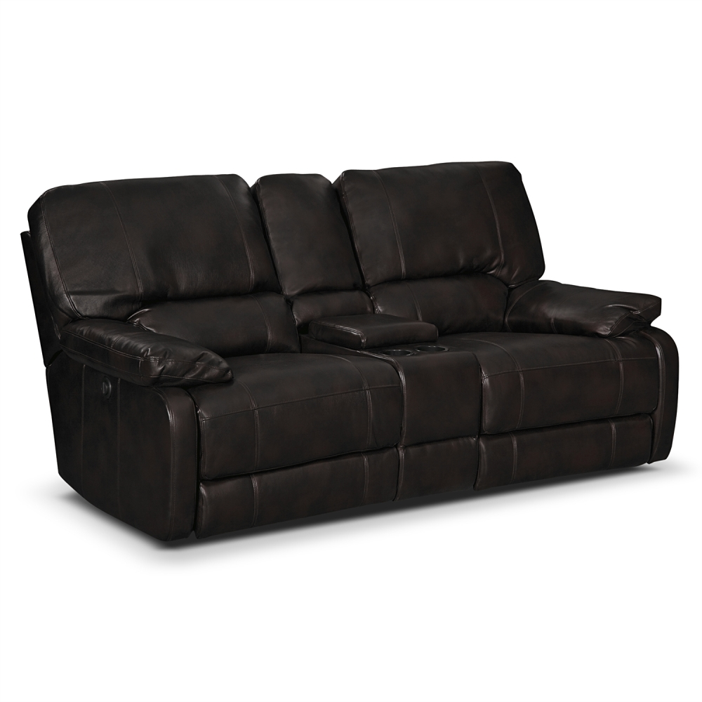 Picture of: Black Leather Reclining Loveseat