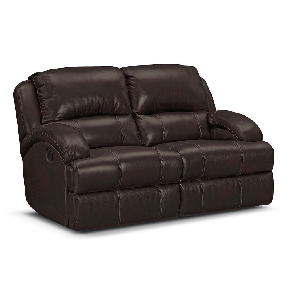 Picture of: Brown Leather Reclining Loveseat