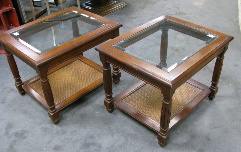 Image of: dark cherry wood end tables