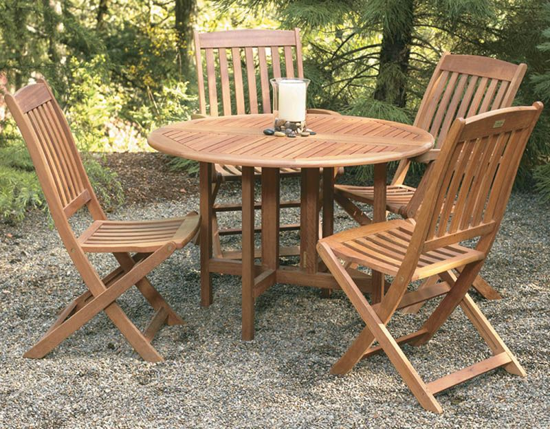 Picture of: Drop Leaf Wood Patio Table