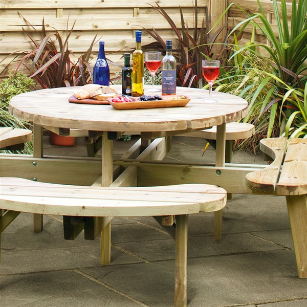 Picture of: Grange Round Wooden 8 Seat Garden Picnic Table