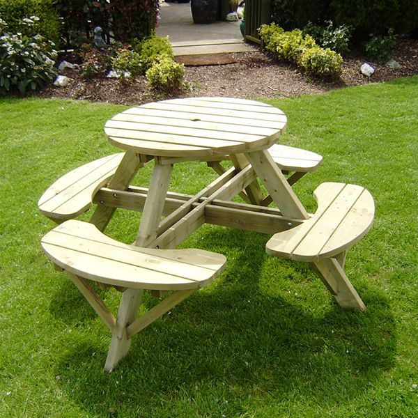 Picture of: Heritage 4 Seat 80cm Round Wooden Picnic Table