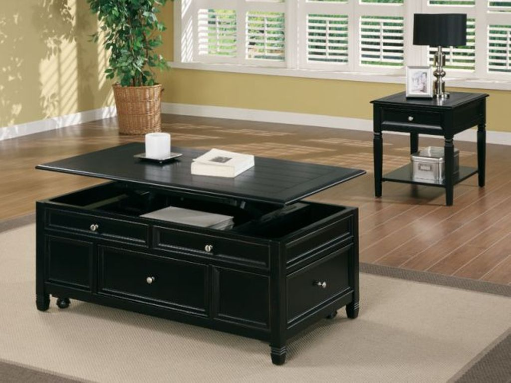 Picture of: Lift Top Cocktail Table Black