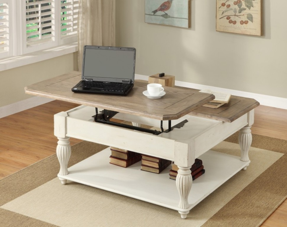Picture of: Lift Top Cocktail Table White