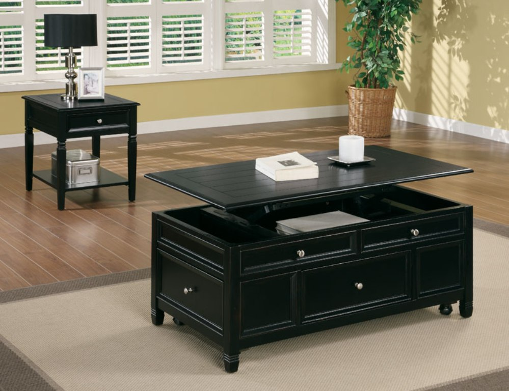 Picture of: Lift Top Coffee Table Black