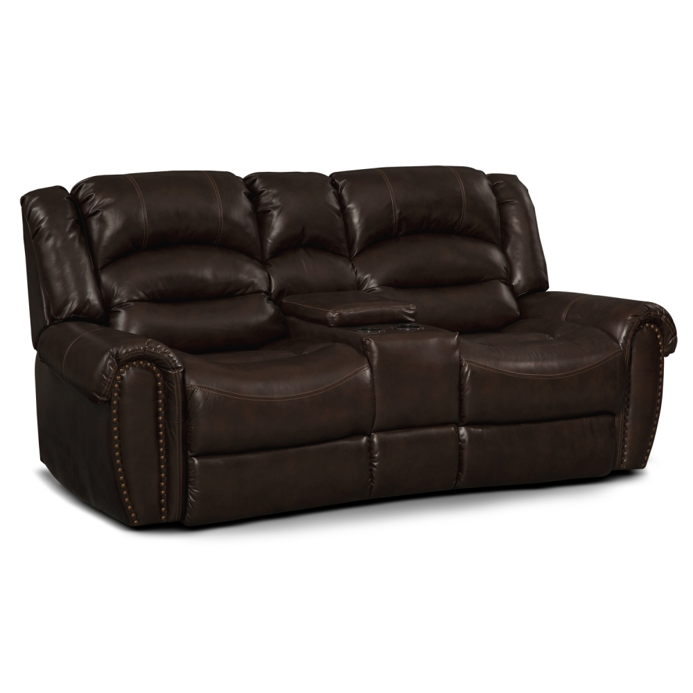 Picture of: Modern Leather Reclining Loveseat